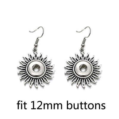 "Sun Flower Earrings Snap Fit ""12mm"" Button"