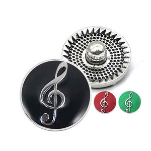 Enamel Music Note Button Fits 18mm 20mm Snap 10pcs