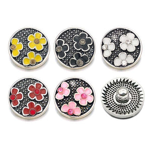 Flower Enamel button Jewelry fit 18mm Snap