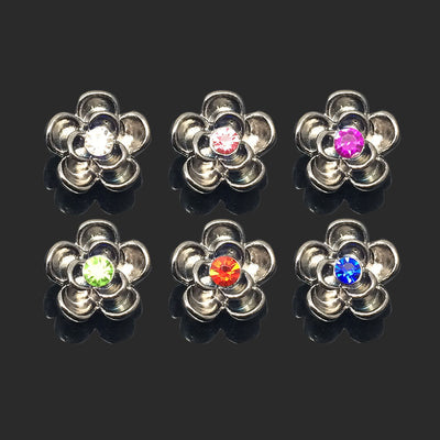 Crystal Flower Buttons Fit 12mm Snap  Accessories 10pcs 6 Colors