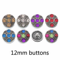 Bling Rhinestone Buttons Fit (12mm) Snap Accessories 10pcs 6 Colors