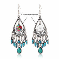 BALI Dangle Earring Rhinestones Snap 12mm Button
