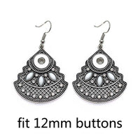 BALI BAM Dangle Rhinestones Snaps Fit 12mm Button Earrings