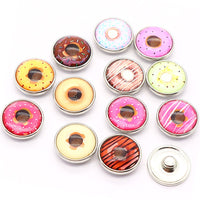 Delicious Donuts Buttons fits 18mm Snap Accessories 12pcs lot