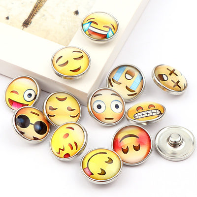 Funny Emoji Glass Metal Snaps buttons fits 18mm accessories 12pcs