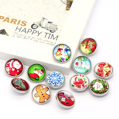 Merry Christmas Glass buttons fits 18mm Snaps 12pcs lot