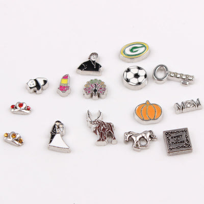 Enamel & Crystals Floating Locket Charms 60pcs/lot