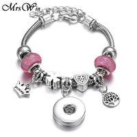 Crown Tree of Life Charm Snap Bracelet Fits 18mm Button