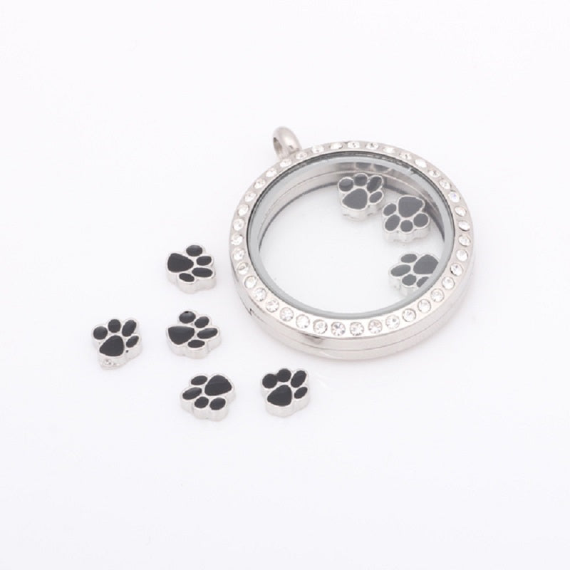 Glass Locket Dog Paw Charm Floating Locket 20pcs Charms