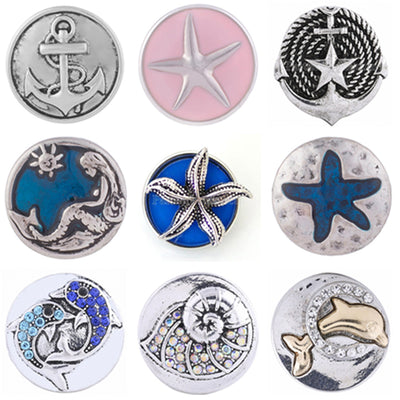 Mix Sea Life Button Fits 18/20mm Snap Accessories 9pcs/lot