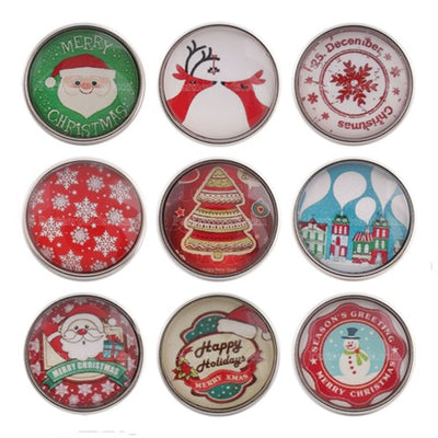 Christmas button Fits 18MM Snap Accessories 9 pcs/lot