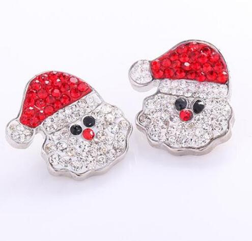 Crystal Rhinestone Christmas metal Snap 18mm Button 10Pcs/lot