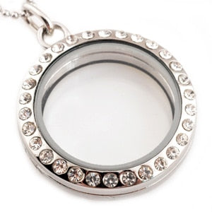 Floating 30mm Charm Locket Rhinestones With Chain