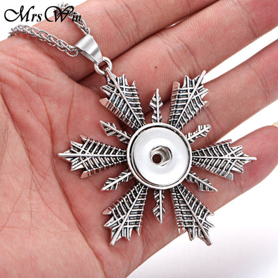 """10pcs/lot"" Wholesale Snowflake Snap Necklaces Fits 18MM Button"