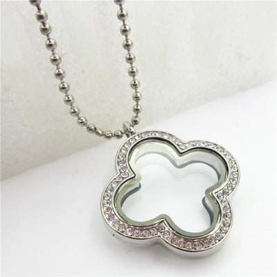 """5pcs"" Crystal Glass Floating Lockets With Chains Magnet Secure"