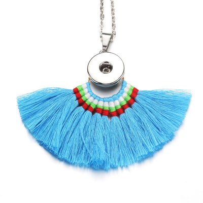 """10pcs/"" Boho Style Tassel Necklace Snap Fits 18mm Button 10pc Lot 5 Colors"