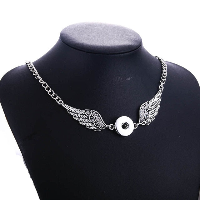 New Fashion Wing Snap Short Necklace Fits 18mm Button