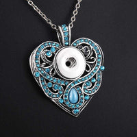 Blue crystal rhinestone heart Necklace fit 18mm
