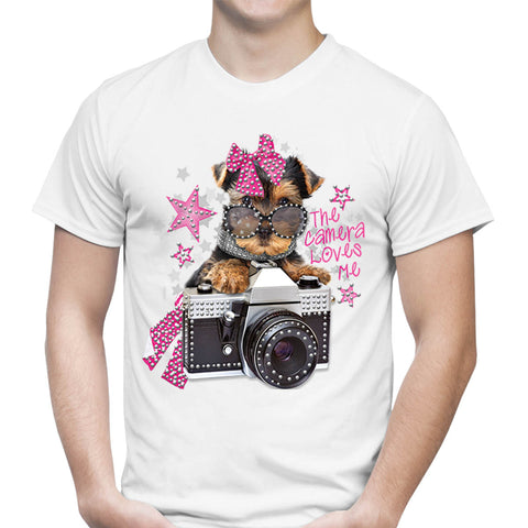 Puppy Camera Rhinestones T-Shirt