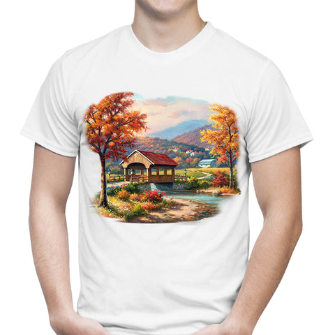 Covered Bridge In Fall T-Shirt