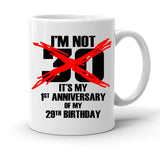 Custom Personalized 1st Anniversary Of My 29th Birthday White 15 oz Coffee Mug