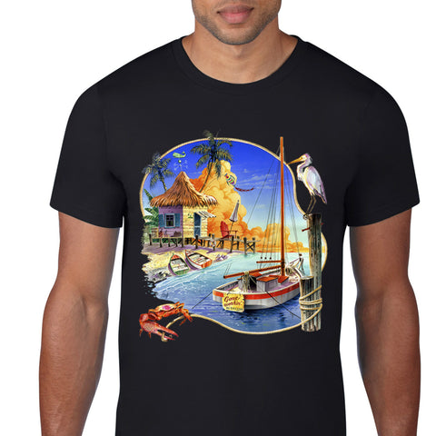 Tropical Fishing Boat T-shirt