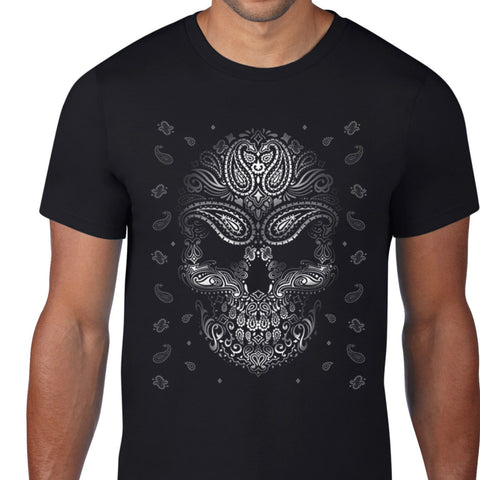 Black And White Skull Art Design T-Shirt