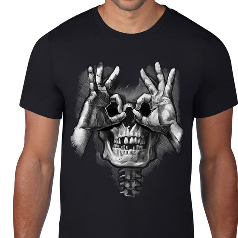 Double OK Sign Skull Art T-Shirt