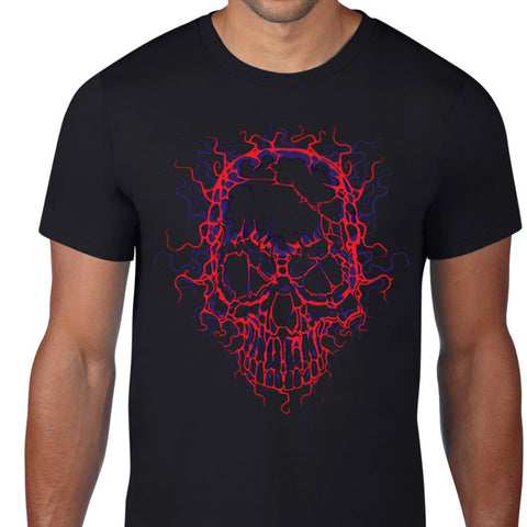Electric Skull Art Design T-Shirt