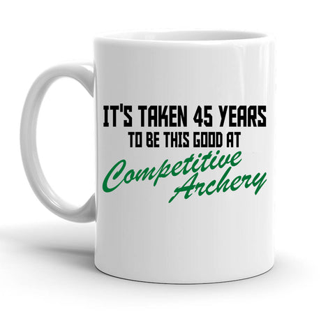 Custom Personalized 45 Years Competitive Archery White 15 oz Coffee Mug
