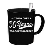 Custom Personalized 50 Years To Look Great Black 15 oz Coffee Mug