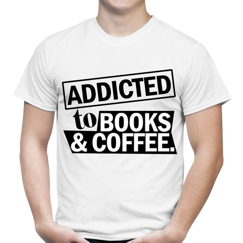 Addicted To Books And Coffee White T-Shirt
