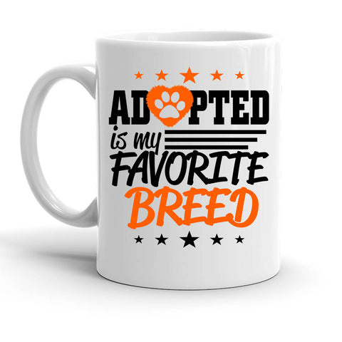 Custom Personalized Adopted Breed White 15 oz Coffee Mug