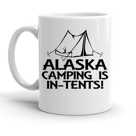 Custom Personalized Alaska Camping In Tents White 15 oz Coffee Mug