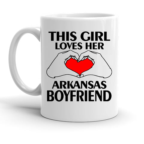 Custom Personalized Arkansas Boyfriend White 15 oz Coffee Mug