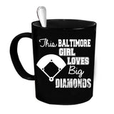 Custom Personalized Baltimore Girl Loves Diamonds Black 15 oz Coffee Mug