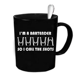 Custom Personalized Bartender Call The Shots Black 15 oz Coffee Mug