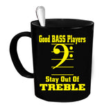 Custom Personalized Bass Players Stay Out Of Treble Black 15 oz Coffee Mug