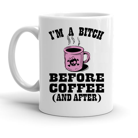 Custom Personalized Before Coffee White 15 oz Coffee Mug