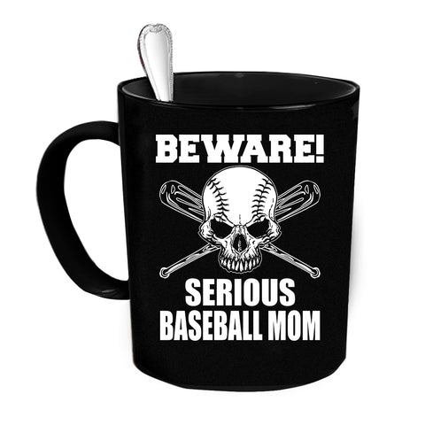 Custom Personalized Beware Baseball Mom Black 15 oz Coffee Mug