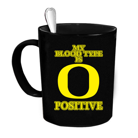 Custom Personalized Bloodtype Is O Positive Black 15 oz Coffee Mug
