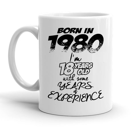 Custom Personalized Born In 1980 White 15 oz Coffee Mug