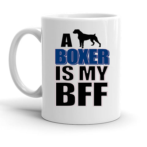 Custom Personalized Boxer is my BFF Blue White 15 oz Coffee Mug