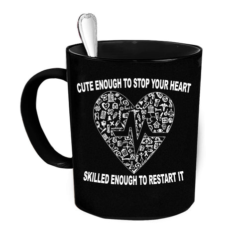 Custom Personalized Cardiologist Stop and Restart Black 15 oz Coffee Mug