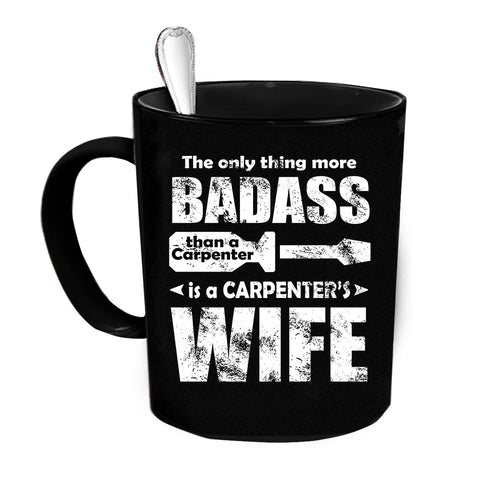 Custom Personalized Carpenters Wife Black 15 oz Coffee Mug
