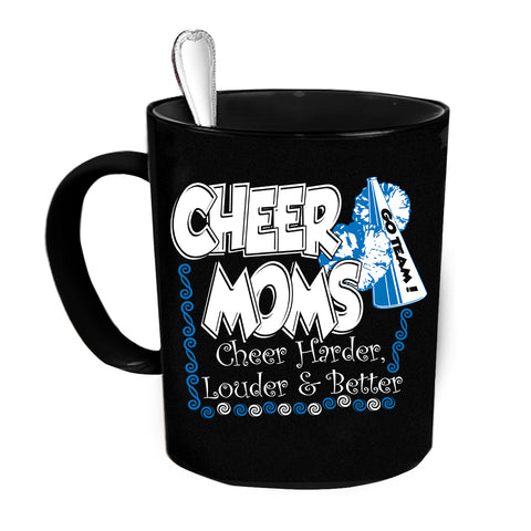 Custom Personalized Cheer Moms Black 15 oz Coffee Mug