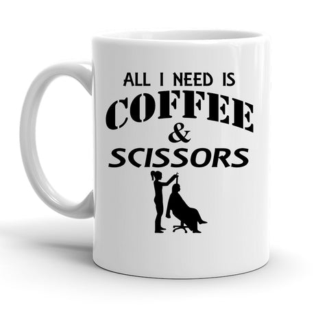 Custom Personalized Coffee And Scissors White 15 oz Coffee Mug