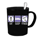 Custom Personalized Eat Sleep Fitness Black 15 oz Coffee Mug