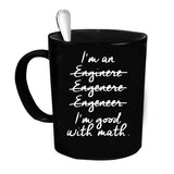 Custom Personalized Engineer Good At Math Black 15 oz Coffee Mug