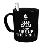 Custom Personalized Fire Up The Grill Black 15 oz Coffee Mug